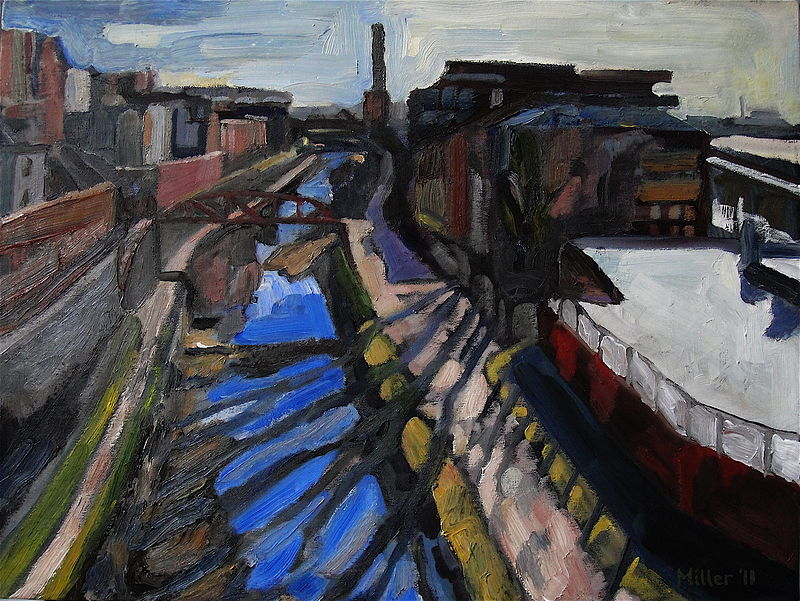 Oil painting Canal View by Edward Miller