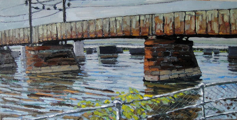 Oil painting Railroad Bridge #3 by Edward Miller