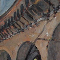 Oil painting Q Street Bridge (Northside) by Edward Miller