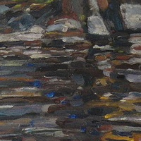 Oil painting Reflection and Shadows on Rock Creek by Edward Miller