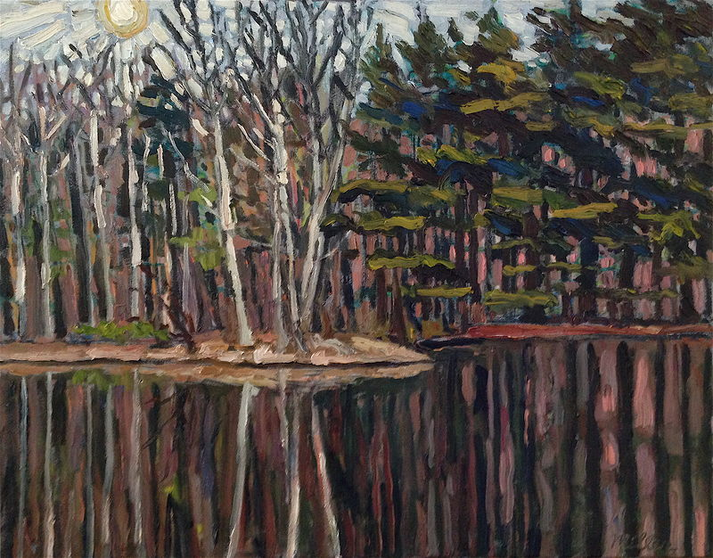 Oil painting Sycamores by Pond  (Early Spring) by Edward Miller