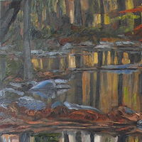 Oil painting Autumnal Waters by Edward Miller