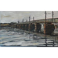 Oil painting West Potomac Railroad Bridge by Edward Miller