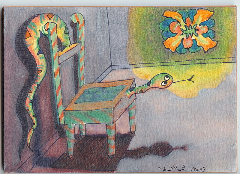 Watercolor The Chair-snake's Vision by David Faulk
