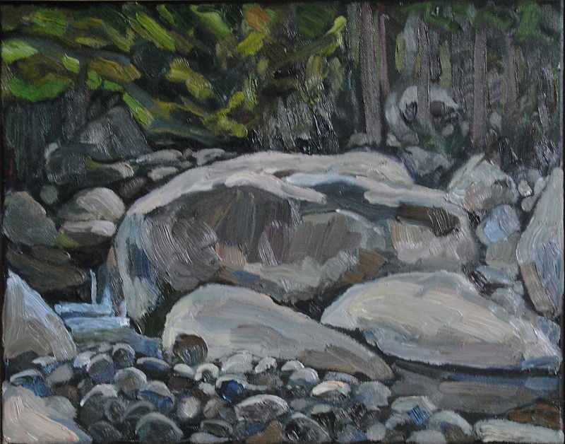 Oil painting Johns Brook Rock Altar by Edward Miller