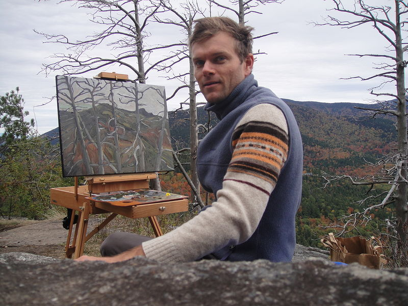 Oil painting Up on Baxter, October 2011 by Edward Miller