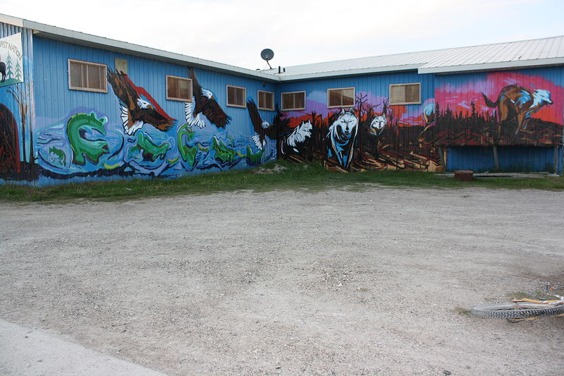Painting Eagles and Fish-Attawapiskat Band Office by Sharon  Hunter