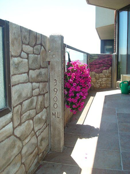 Painting Stone Wall Mural - Balcony by Cindy Scaife