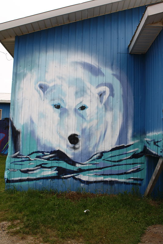 Painting Polar bear-front of Attawapiskat Band Office by Sharon  Hunter