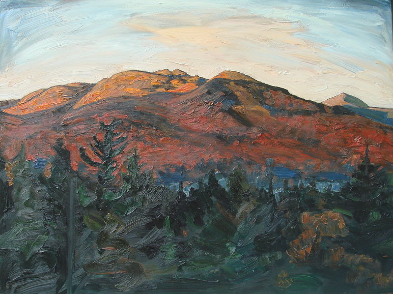 Oil painting Sunrise on Roostercomb by Edward Miller