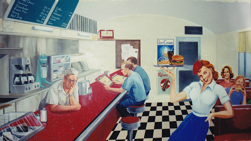 Painting Route 66 Casino - Diner Mural by Cindy Scaife