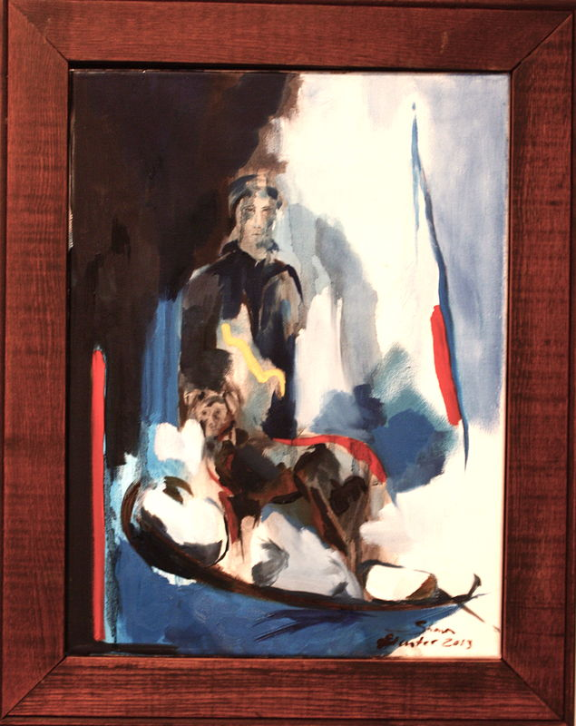 Oil painting Blind River Trapper and Dog-2012 by Sharon  Hunter