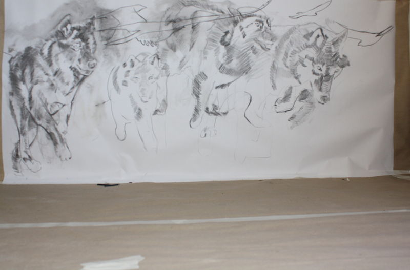 Drawing Wolves-2011 by Sharon  Hunter