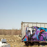 Photography Mural on C-Can at the Attawapiskat car dump by Sharon  Hunter