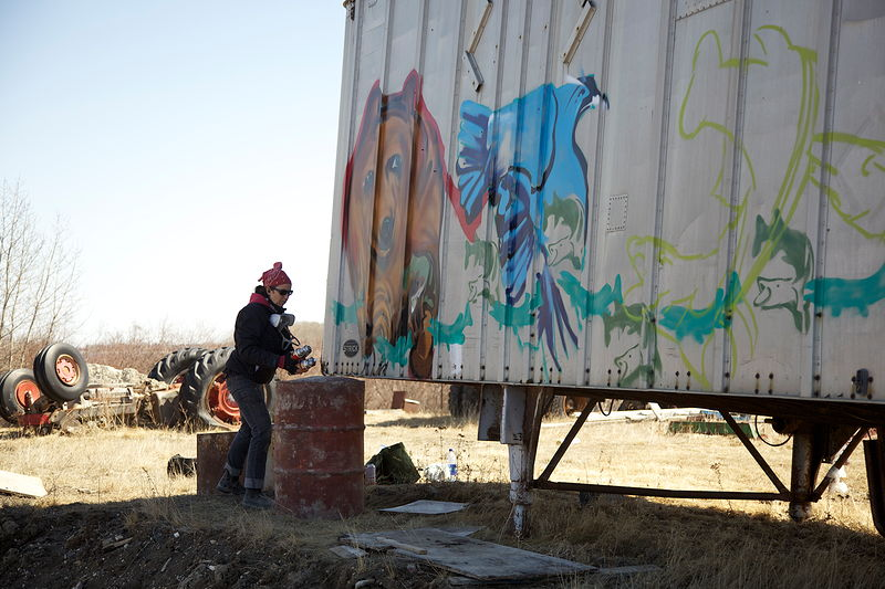 Photography Process shots of paintings done at the Attawapiskat car dump by Sharon  Hunter