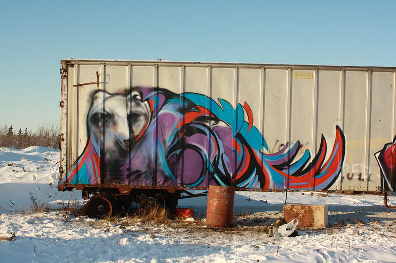 Painting C-Can in Attawapiskat by Sharon  Hunter