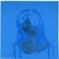 Drawing Blue Girl by Shawn Jordan