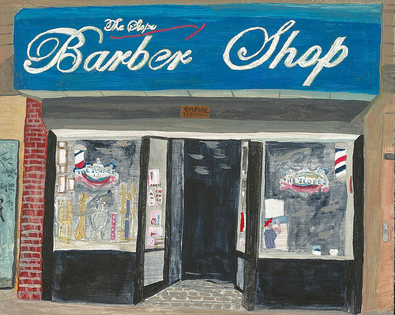 Acrylic painting the slope Barber Shop by anthony Ziegler