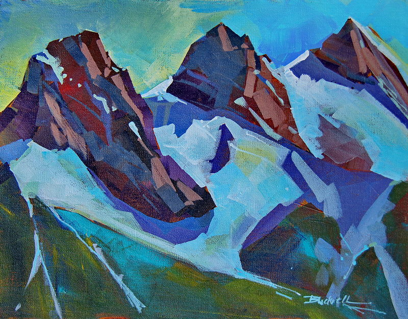 Three Above Canmore  Acrylic 11x14 2011 PA by Brian  Buckrell