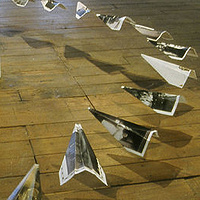 view of paper aeroplane installation by Belinda Harrow