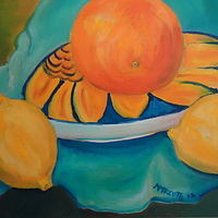 Oil painting Oranges and lemons in outer space by Michelle Marcotte