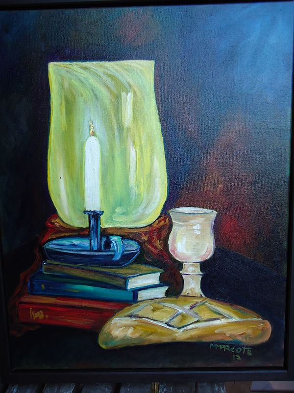 Oil painting Into this dark and confusing world came The Light (to honor the graduation of Rev. Emily Berkowitz) by Michelle Marcotte
