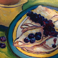 Oil painting Giclee Print - Vanilla-cream filled crepes, sauced with wild Quebec blueberries, tossed with highbush blueberries and served with a pitcher of maple syrup, Canada #1 medium by Michelle Marcotte