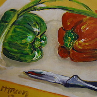 Acrylic painting Like a Bridge Over Troubled Peppers  by Michelle Marcotte