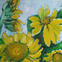 Painting Sunflowers Fading - Giclee Print - detail by Michelle Marcotte