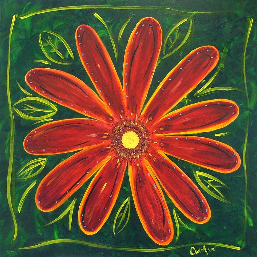 Acrylic painting Mexican Red flower by Carolyn Trotter