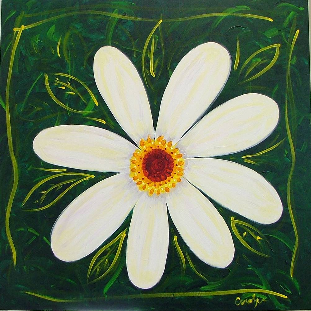 Acrylic painting Chubby White flower by Carolyn Trotter