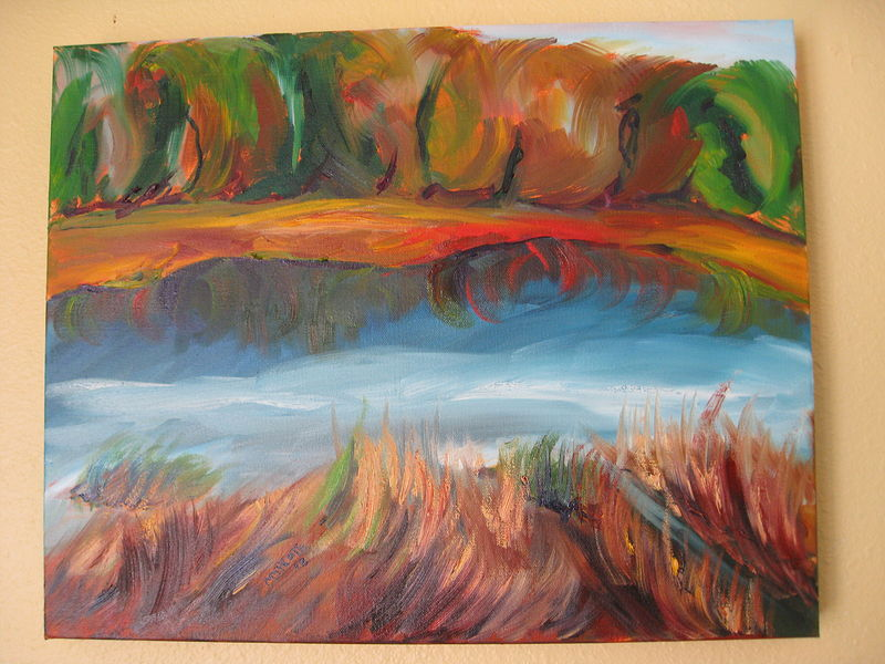 Oil painting Autumn reflection in the pond by Michelle Marcotte