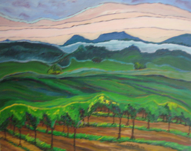 Oil painting Morning fog in Sonoma by Michelle Marcotte