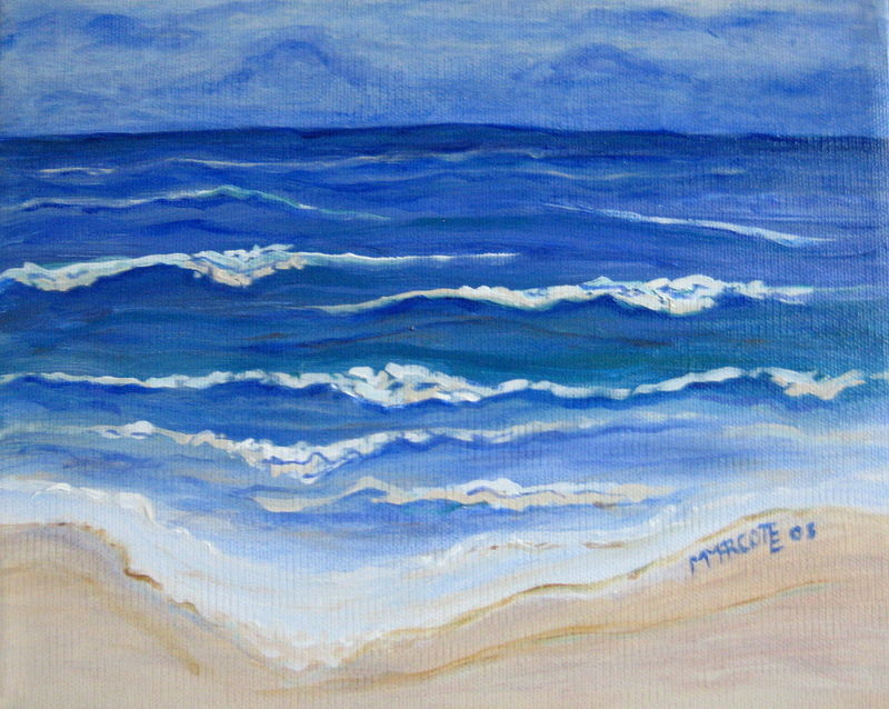 Oil painting Waves at Daytona Beach by Michelle Marcotte