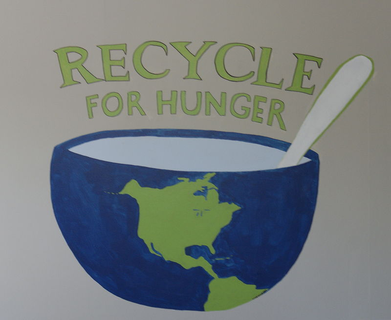 Acrylic painting Recycle for Hunger Logo by anthony Ziegler