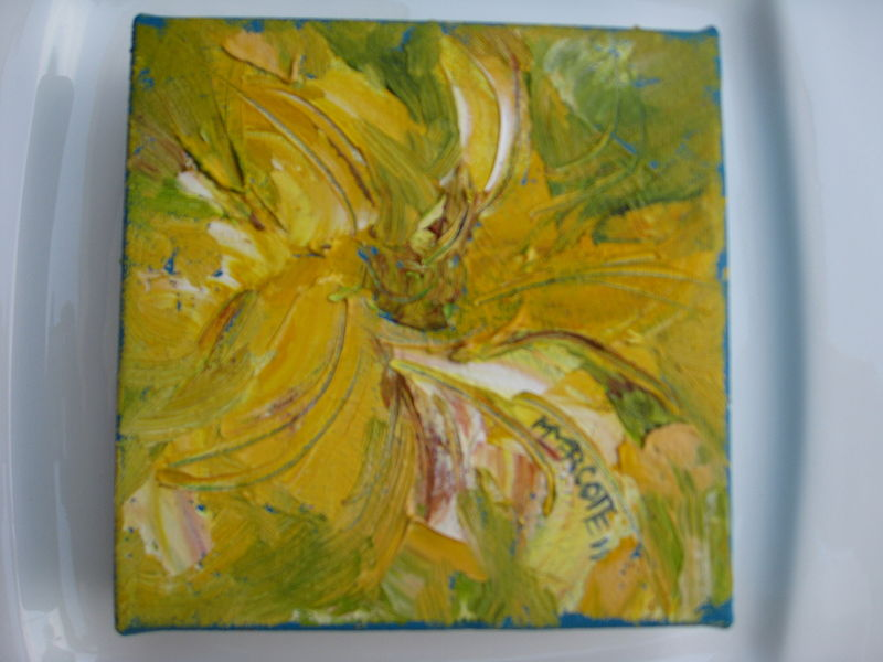 Oil painting Yellow flower five inch IMG_1922 by Michelle Marcotte