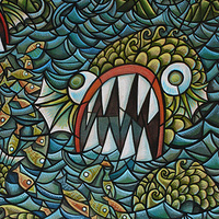 Acrylic painting The Hungry Sea Monsters by Kenneth M Ruzic
