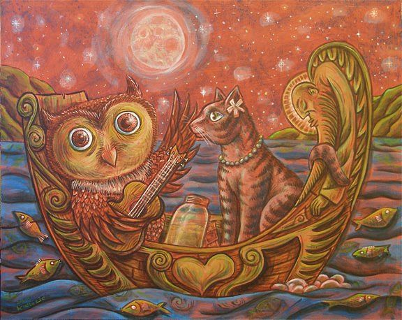 Acrylic painting the Owl and the Pussycat by Kenneth M Ruzic