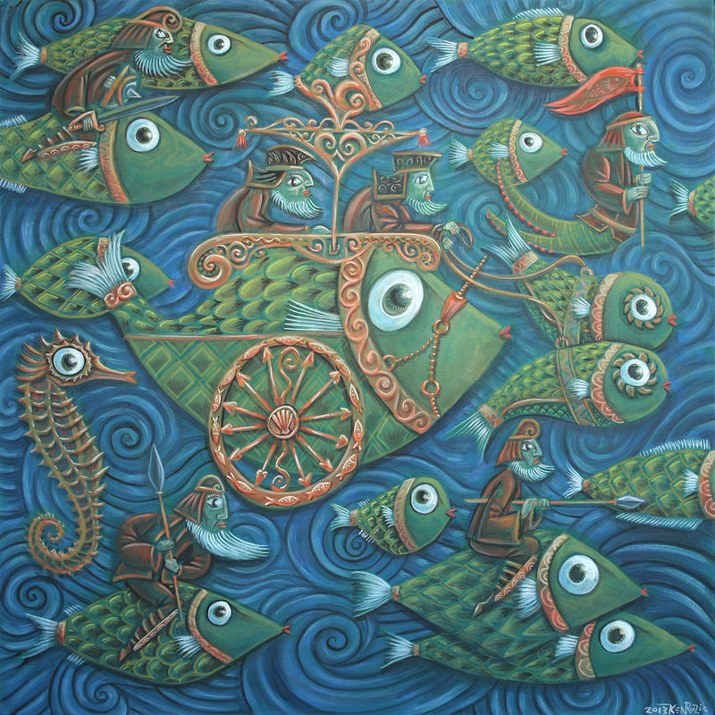 Acrylic painting the Battle of the Fish by Kenneth M Ruzic