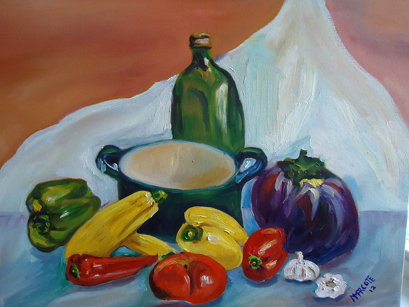 Oil painting Ratatouille by Michelle Marcotte