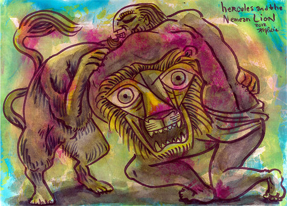 Drawing Hercules and the Nemean Lion by Kenneth M Ruzic