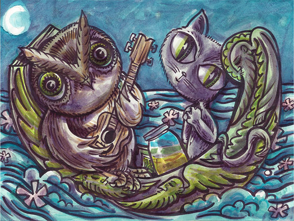 Drawing Owl and the Pussycat by Kenneth M Ruzic