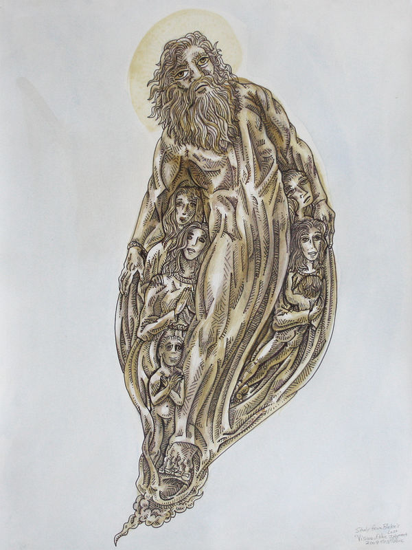 Drawing study from Blake's Vision of the Last Judgment by Kenneth M Ruzic