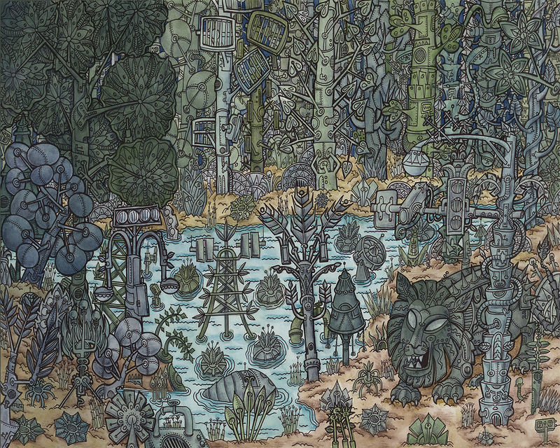 Watercolor The Mechanical Forest by Kenneth M Ruzic