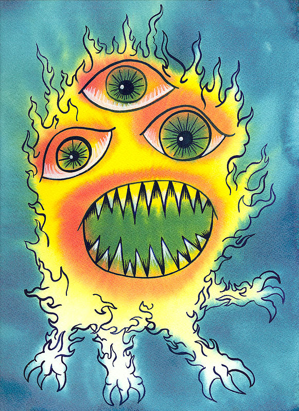 Drawing Three-Eyed Fire Creature by Kenneth M Ruzic
