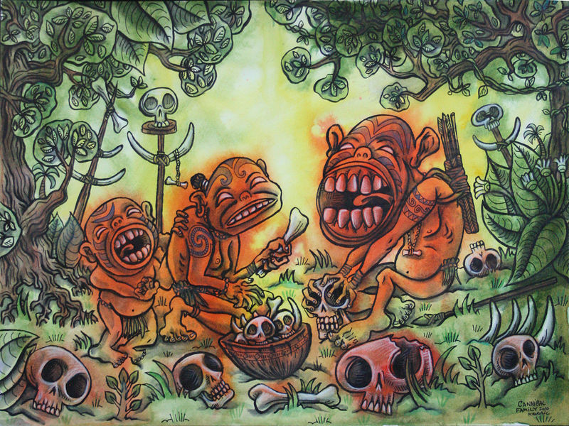 Drawing Cannibal Family by Kenneth M Ruzic