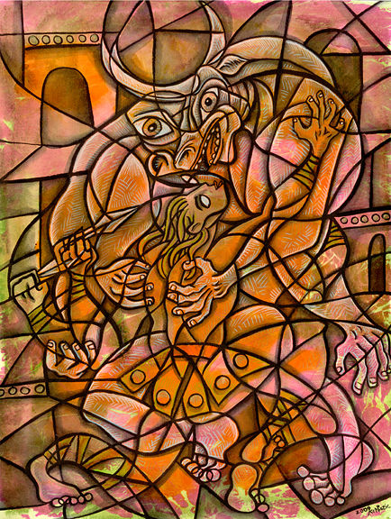Drawing Theseus and the Minotaur by Kenneth M Ruzic