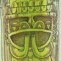 Drawing See No Evil totem study by Kenneth M Ruzic