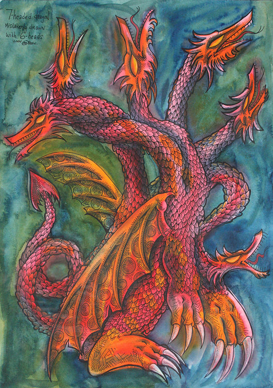Drawing Seven-Headed Dragon mistakenly drawn with Six heads by Kenneth M Ruzic