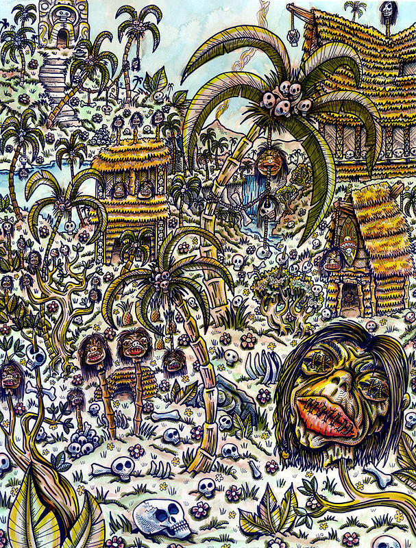 Drawing Cannibal Village by Kenneth M Ruzic